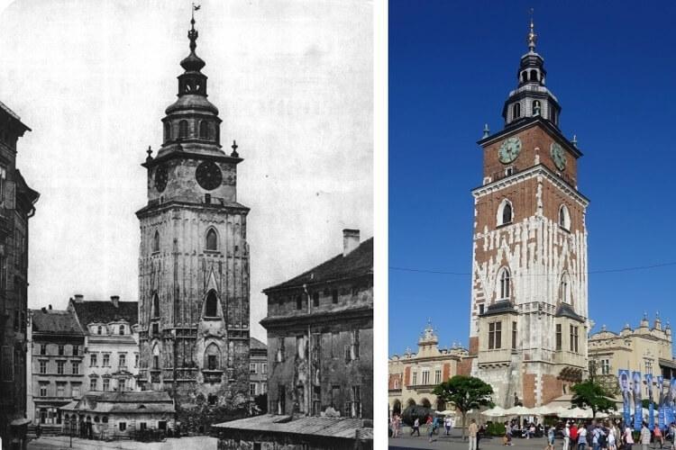 wieża ratuszowa w Krakowie nazywana krzywą wieżą