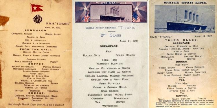 Titanic - menu klasy 1, 2 i 3