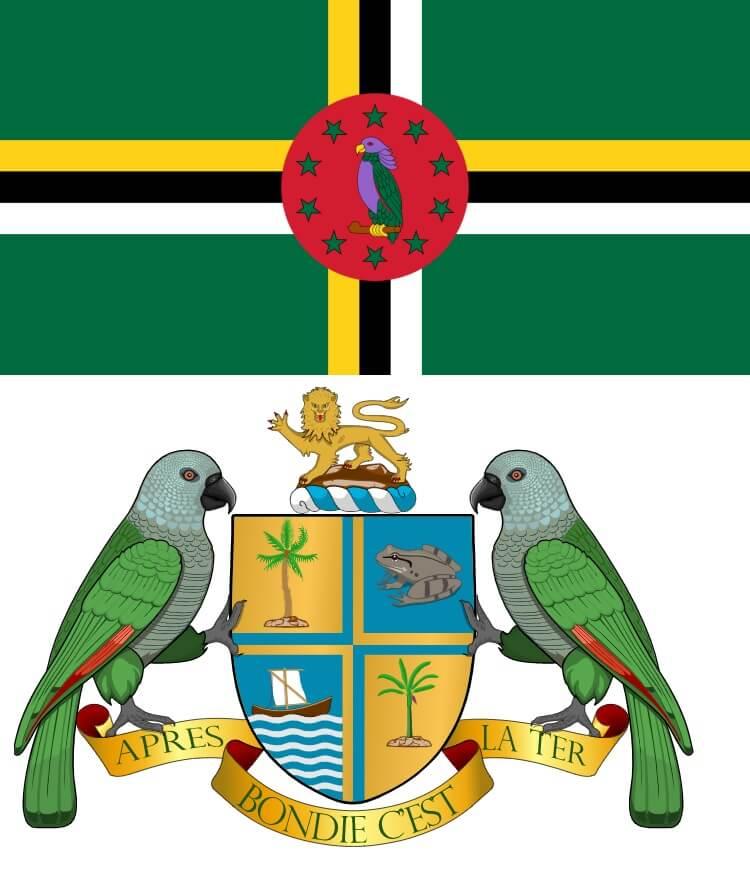 flaga i herb Dominiki