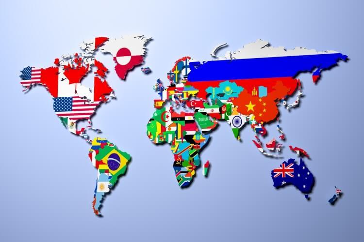 mapa świata z flagami państw