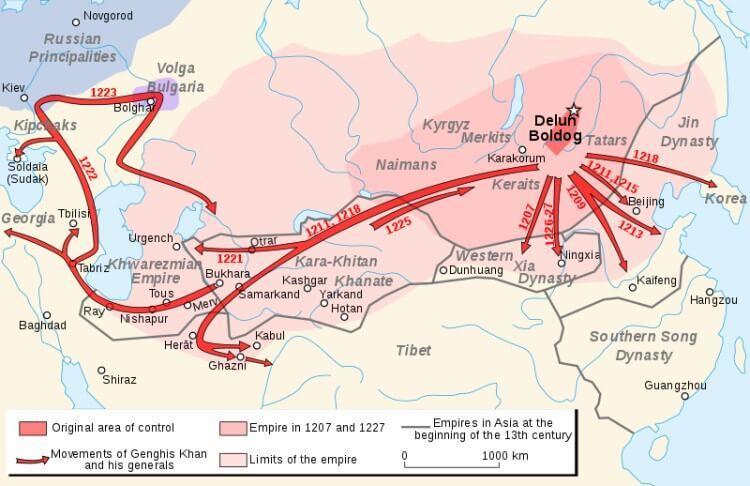 Znaczące podboje i ruchy Czyngis-chana i jego generałów