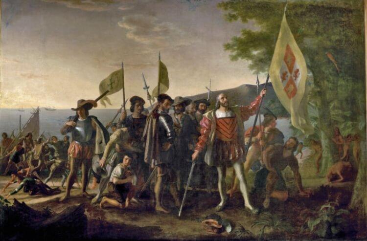 obraz przedstawiający przybycie Krzysztofa Kolumba do Salwadoru