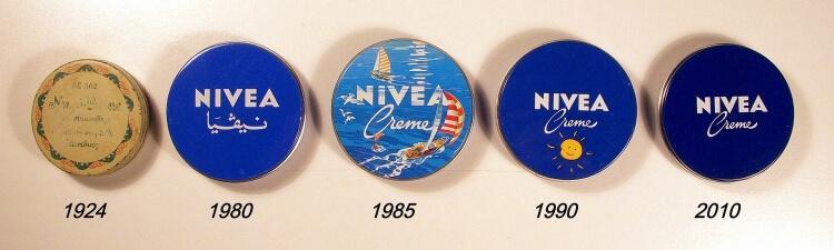 Opakowania Nivea z lat 1924-2010