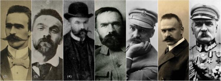 Wąsy Piłsudskiego na przestrzeni lat