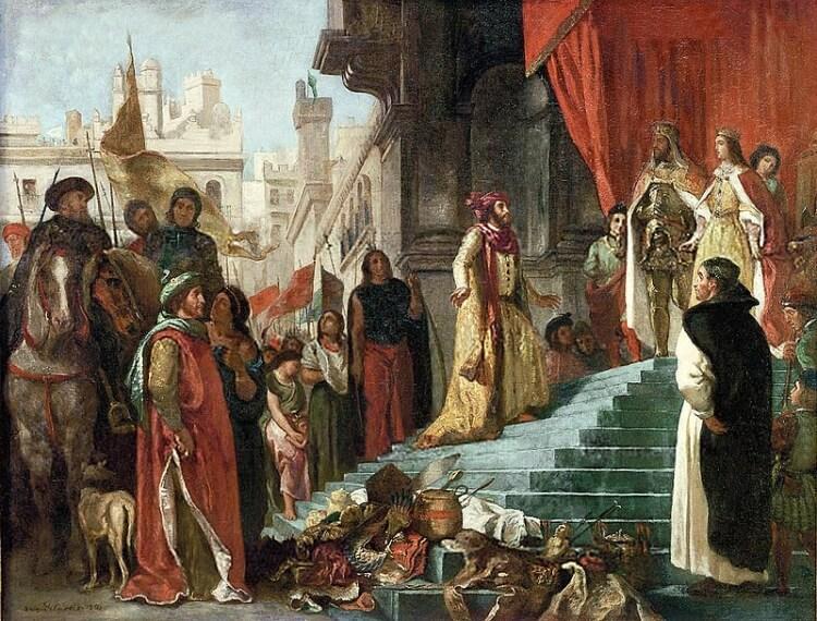 obraz przedstawiający audiencję Krzysztofa Kolumba u królowej Izabeli