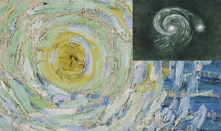 Galaktyka Wir Williama Parsona i fragment  obrazu van Gogha