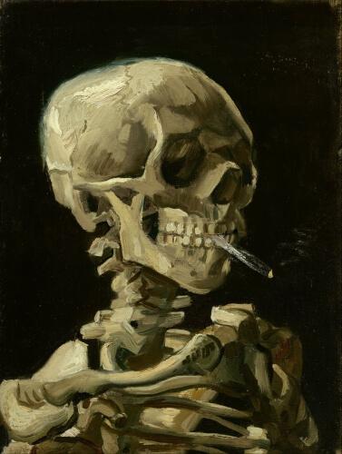 Czaszka z palącym się papierosem – obraz Vincenta van Gogha